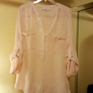 Flowing light pink sheer shirt